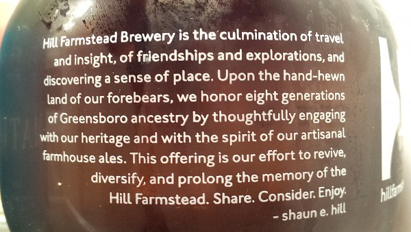 Hill Farmstead Growler Label (well said).