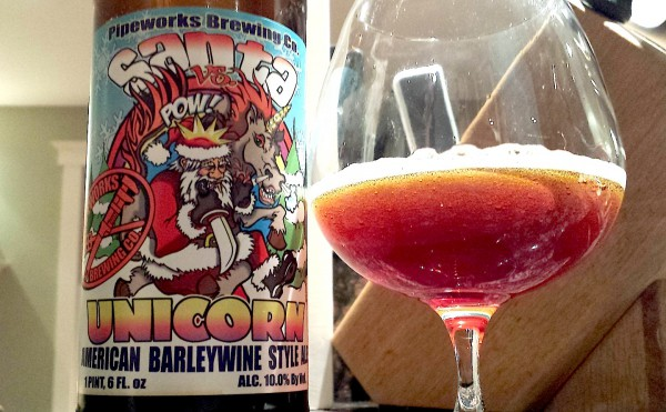 Santa vs. Unicorn American Style Barleywine by Pipeworks Brewing, Chicago, Illinois