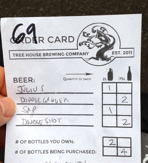 Tree House Brewing Order Card