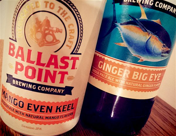 Mango Even Keel Session Ale and Ginger Big Eye IPA by Ballast Point Brewing Company, San Diego, California