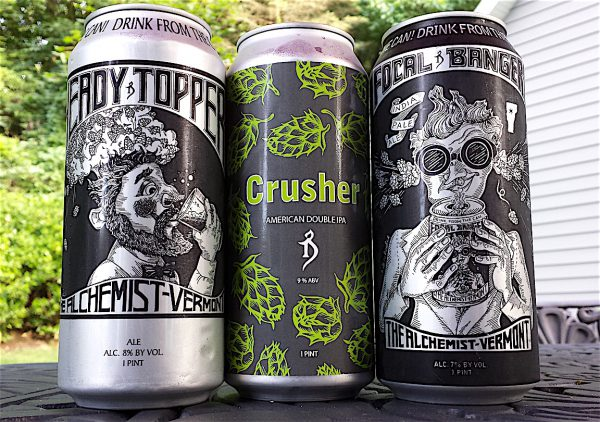 l to r: Heady Topper, Crusher and Focal Banger by The Alchemist, Stowe, Vermont