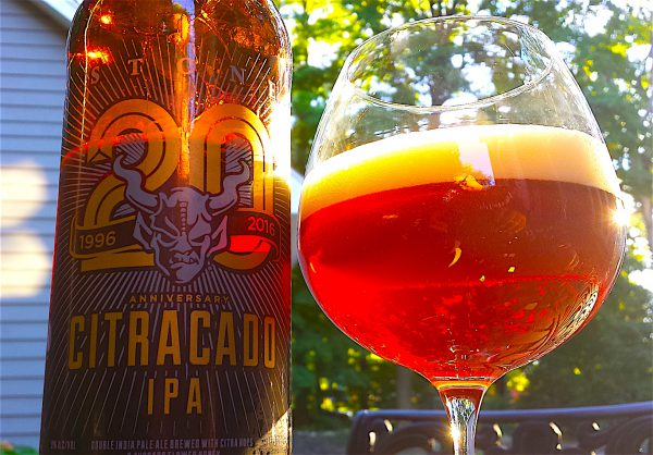 Citracado IPA. Stone Brewing's 20th Anniversary Ale brewed with Citra Hops and Avocado Honey