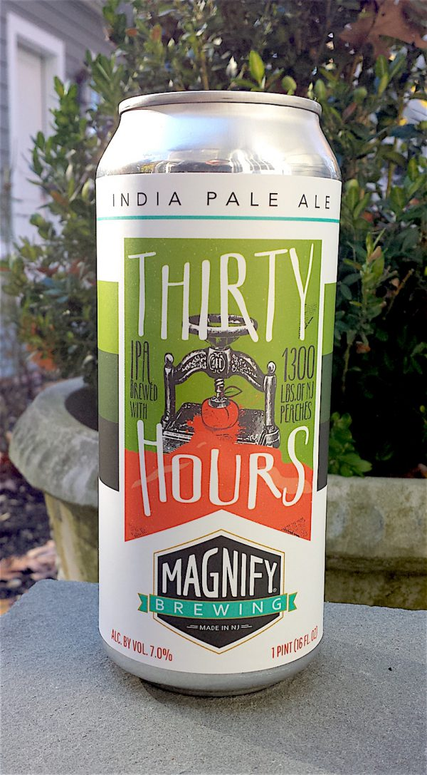 Thirty Hours IPA with NJ Peaches added by Magnify Brewing Company, Fairfield, NJ