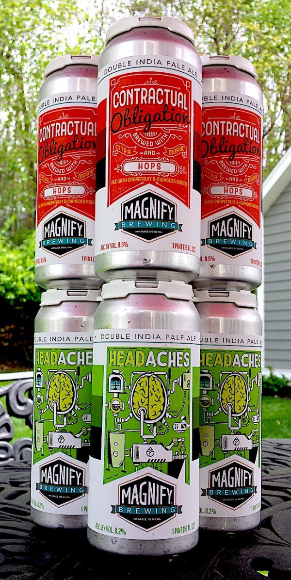 Contractual Obligation by Magnify Brewing and Headaches Double IPA by Magnify Brewing