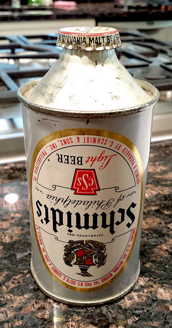 Schmidt's cone top beer can
