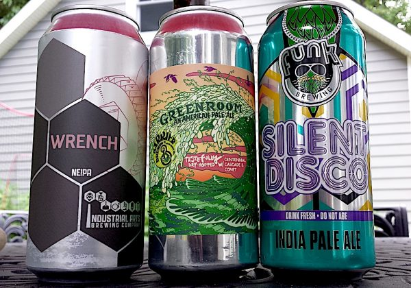 Wrench IPA by Industrial Arts Brewing Company, Green Room by Barrier Brewing and Silent Disco by Funk Brewing