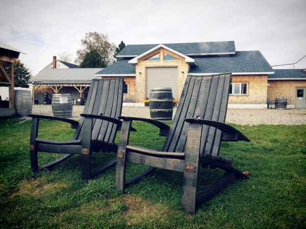 Two Adirondack chairs made from used barrels, Hill Farmstead Brewing, Greensboro Bend, Vermont, Abner IPA, Society & Solitude and Difference & Repetition