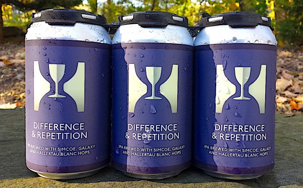 Hill Farmstead Cans of Difference & Repetition brewed with Simcoe, Galaxy and Hallertau Blanc hops. Hill Farmstead, Greensboro Bend, Vermont