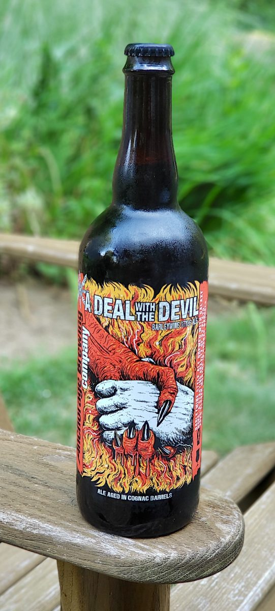 A Deal With the Devil Barley Wine aged in Cognac Barrels. Brewed by Anchorage Brewing Company, Alaska